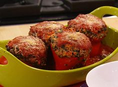 Rachael Ray's meatball-stuffed peppers with spinach and garlic