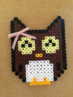 Cute Owl perler bead fridge magnet by 8BitMuffin