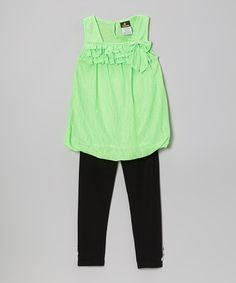 Another great find on #zulily! Green Ruffle Bubble Tunic & Leggings - Infant, Toddler & Girls by Diva #zulilyfinds