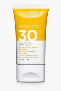 Clarins Gel-to-Oil Invisible Sun Care SPF 30 Face - zonnebrand Sun Protection Cream, Crema Solar, 70s Makeup, Dry Face, Cosmetic Bottles, Cosmetic Design, Skin Care Cream, Sun Care, Freckles