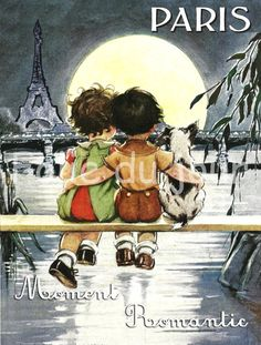 Antique French Paris romantic poster children kids sunset eiffel tower dog love. $11.00, via Etsy.