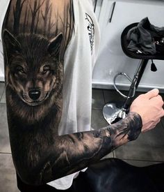 amazing wolf arm tattoo