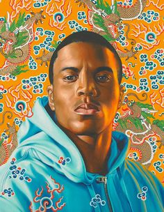 """""""Phillip II"""" - Kehinde Wiley (b. 1977), oil on canvas, 2008 {contemporary figurative art african-american male head black man face portrait painting #loveart} kehindewiley.com"""