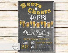 Worn Out Beer Birthday Invitation / Digital by MyPrintableInvite