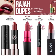 MAC Rajah Lipstick Dupes [Disney Aladdin Collection - Makeup Tips Lipstick Art, Lipstick Shades, Lipstick Colors, Peach Lipstick, Nyx Matte, Lip Colors, Dupes Nyx, Mac Cosmetics Lipstick, Make Up Dupes