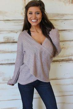 Mauve Overlap Sweater