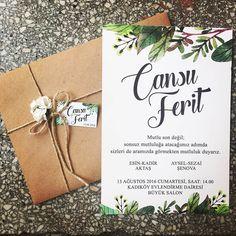 Yaprak Desenli Düğün Davetiyesi | Yaz Düğünleri | Nişan Davetiyeleri | Kişiye Özel Tasarımlar | Wedding Invitations