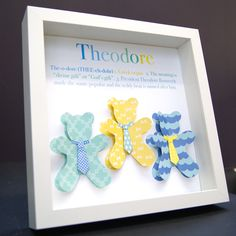 Personalized Name Meaning & Origin 3D Paper Teddy Bears Shadowbox Frame Custom Art Newborn Baby Nursery Decor Wall Art Gift by paintandpapercraft on Etsy