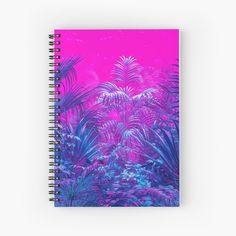 """""""Neon Jungle Paradise"""" Spiral Notebook by GrandeDuc Neon Jungle, Notebook Design, Canvas Prints, Art Prints, Bright Pink, Spiral, Online Shopping, Finding Yourself, Paradise"""