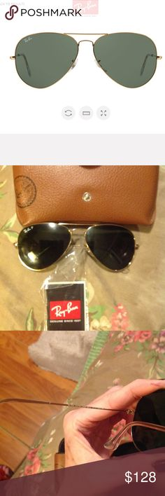 Ray ban OG metal aviators 💕 Worn only twice SUPER small scratch as shown in pic 4 but only noticeable when you look close up .. virtually new ! Pamphlet and case included will try to find cloth! Ray-Ban Accessories Glasses