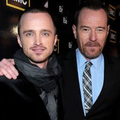 Aaron Paul and Bryan Cranston. I'd squeeze in between those two, in a heartbeat. Aaron Paul, Bryan Cranston, Plot Twist, Best Tv Shows, Breaking Bad, In A Heartbeat, All In One, Script, Pilot
