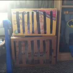 """Promote imaginative role play with Homemade """"pet-shop"""" cages/pet carriers: 1.use a box cutter to cut strips in the front of a box as well as a door that folds open in the back 2.tape the top closed 3.have kids paint/decorate to make it their own (not finished in pic) 4.insert baby blanket and pet"""