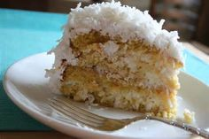 """the """"Best Ever"""" Coconut Cake. Be forewarned, you can't have just one piece of this decadently moist coconut cake. Jamaican Coconut Cake Recipe, Sour Cream Coconut Cake, Coconut Pudding, Pudding Cake, Coconut Milk, Coconut Desserts, Coconut Recipes, Coconut Cakes, Sweet Recipes"""