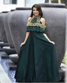 How's this guys? Yay or nay? Trending for dresses How's this guys? Yay or nay? Trending for dresses… Indian Designer Outfits, Indian Outfits, Designer Dresses, Indian Wedding Gowns, Indian Gowns, Lehenga Designs, Saree Blouse Designs, Dress Neck Designs, Western Dresses