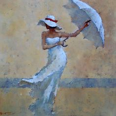 André Kohn is a Russian-born painter whose style is described as figurative impressionist. For biographical notes -in english and italian- by Kohn see: Andre Kohn, 1972 Painting People, Figure Painting, Art Sketches, Art Drawings, Umbrella Art, Beach Art, Portrait Art, Beautiful Paintings, Figurative Art
