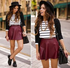 Pink And Pepper Shoes, Romwe Skirt, Romwe Striped Shirt, Forever 21 Hat