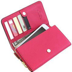 Sale 14% (11.81$) - Women Candy Color Hasp Long Wallet Girls Credit Card Holder Phone Bags Case