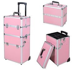 Pink Aluminum Rolling Train Cosmetic Makeup Lockable Case * To view further for this item, visit the image link.