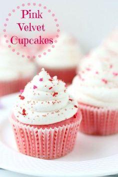 35+ Valentine's Day Cupcake Ideas - Pink Velvet Cupcakes