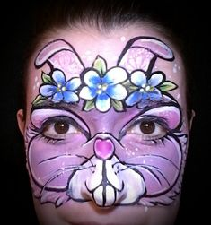 Bunny face paint. Painted by Stephanie Lewis of Transformations Face Painting.
