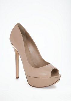 bebe | Pat Leather Peep Toe Pumps - Pumps & Heels $129 great nude heels for pi phi white night