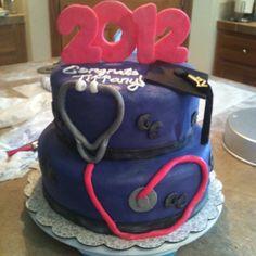 Purple graduation cake with hot pink stethoscope