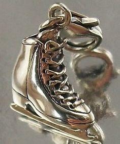 925 Sterling Silver Clip ON ICE Skate Charm Pendant Oxidised | eBay
