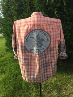 Flannel Shirt Upcycled and Distressed Flannel Shirt Bleach