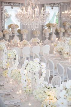 All white wedding reception. Wedding Reception Decorations, Wedding Themes, Wedding Centerpieces, Wedding Designs, Wedding Table, Wedding Events, Wedding Receptions, Wedding Locations, All White Wedding