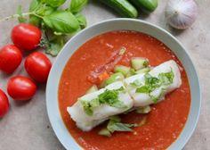 GAZPACHO MED HVIT FISK Gazpacho, Caprese Salad, Salsa, Mexican, Ethnic Recipes, Food, Gravy, Salsa Music, Meals