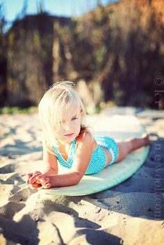 Little surfer girl. This will be my daughter one day! How cute! RP by Splashtablet the suction-mount, waterproof iPad, tablet, smartphone case. http://www.amazon.com/iPad-Case-Suction-Mount-Waterproof-Kitchen/dp/B00DBCMM2S Grab one under $44
