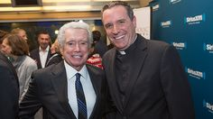 Paulist Fr. Dave Dwyer with Regis Philbin in the studios of SiriusXM in New York City on Listener Appreciation Day.  Regis was baptized at our mother church, the Church of St. Paul the Apostle, in NYC.