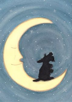 Scottish terrier scottie sits howling on the by watercolorqueen, $12.99