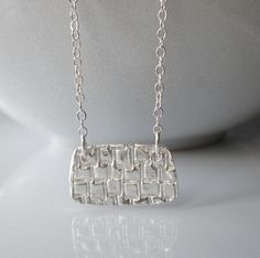 Silver Patterned Necklace / Embossed Silver by SilverorBronze, $27.00