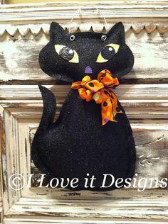 Black Cat Burlap Door Hanger by ILoveItDesigns on Etsy, $30.00