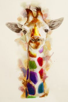 Baby giraffe that has colorful patterns. very cute :D