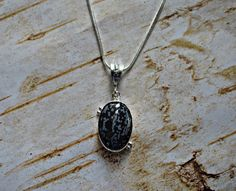 Your place to buy and sell all things handmade Stone Necklace, Pendant Necklace, Snowflake Obsidian, Black White Fashion, Gemstone Colors, Healing Stones, Sterling Silver Chains, Gemstone Jewelry, Gemstones