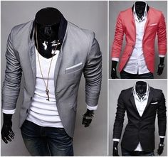 Korean style Men Contrasting Collar 2 Button Blazer