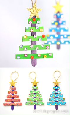 Glittering Popsicle Stick Christmas Trees - These popsicle stick Christmas trees are SO EASY to make and they're so beautiful! The kids will - Popsicle Stick Christmas Crafts, Stick Christmas Tree, Preschool Christmas Crafts, Kids Christmas Ornaments, Christmas Crafts For Kids To Make, Craft Stick Crafts, Holiday Crafts, Christmas Art, Popsicle Sticks