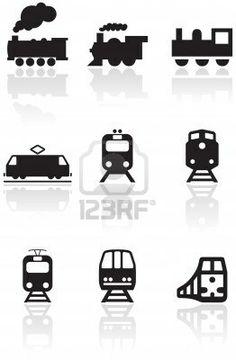 aantal verschillende trein illustraties of symbolen. Stockfoto - 8266689