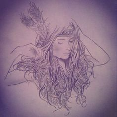 feathers, headband, hair texture, graceful, organic, sketchy, free spirit