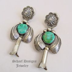 Schaef Designs Vintage Turquoise & sterling silver squash blossom leaf post earrings | New Mexico