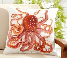 Outdoor Pillow Octopus... and other Sea Critters to Bring the Ocean and the Beach to your Outdoor Space! http://beachblissliving.com/outdoor-pillows/