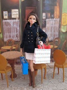 Dana is The Barbie Look - City Shopper Barbie doll. Pea coat and purse by Mattel.