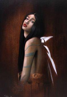 "Saatchi Art Artist Dragan Koleben; Painting, ""Indian girl"" #art"