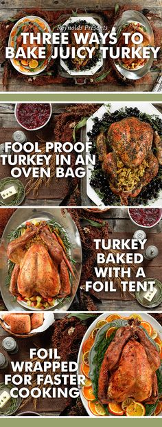 Here are three different ways to cook your Thanksgiving Turkey this year. Thanksgiving Sides, Thanksgiving Recipes, Fall Recipes, Holiday Recipes, Dinner Recipes, Holiday Meals, Christmas Desserts, Dinner Ideas, Baked Turkey