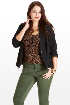 Colored jeans are a great way to make a statement on casual day and can be mixed with a variety of colors on top.