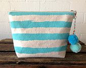 Screen printed Striped Canvas Clutch Purse, Summer Colours, Metallic Leather, Pom Poms, | SplendidLoveShop