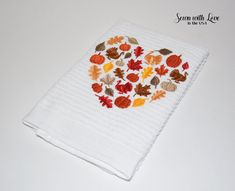 Fall Harvest Heart Embroidered Cotton Dish Towel   Harvest Towel   Home Decor   Gifts Under 10   Home Decorating   Kitchen Decor   Fall by SewnWithLoveInTheUSA on Etsy