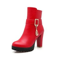 AllhqFashion Women's Low Top Solid Zipper Round Closed Toe High Heels Boots with Charms * Check this awesome product by going to the link at the image.